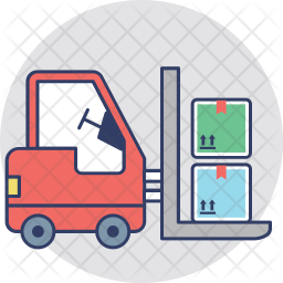 Forklift Truck Colored Outline Icon