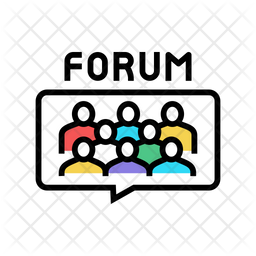 Forum Meeting Colored Outline Icon