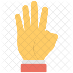 Four fingers Flat Icon
