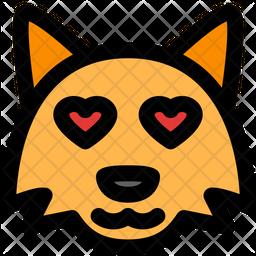Fox Heart Eyes Colored Outline  Emoji Icon
