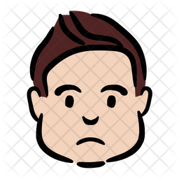 Frustrated Boy Colored Outline Icon