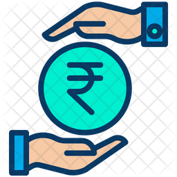 Funding Rupees Colored Outline Icon