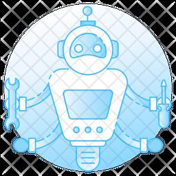 Futuristic Robot Colored Outline Icon