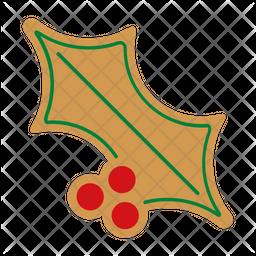 Gingerbread holly leaf Icon