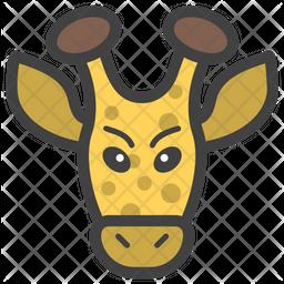 Giraffe Face Colored Outline  Emoji Icon