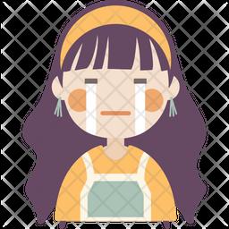 Silently Crying Girl Icon