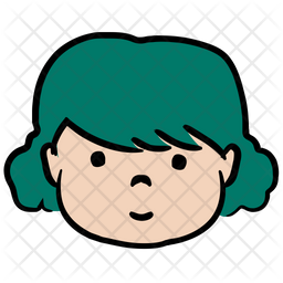 Girl Character Colored Outline Icon