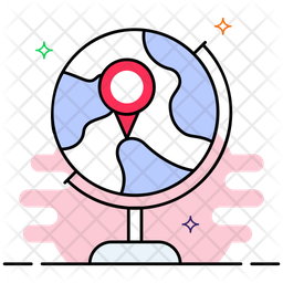 Global Location Colored Outline Icon