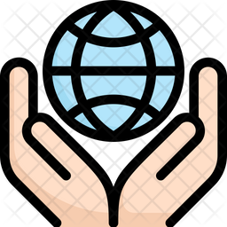 Globe In Hand Colored Outline Icon