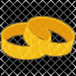 Gold Bangles Flat Icon