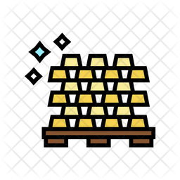 Gold Bar Colored Outline Icon