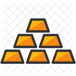 Gold bars Colored Outline Icon