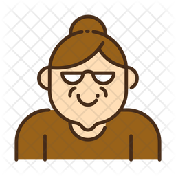 Grandmother Colored Outline Icon