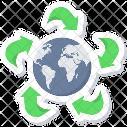 Green Earth Sticker Icon