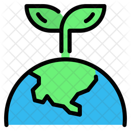 Green earth Colored Outline Icon