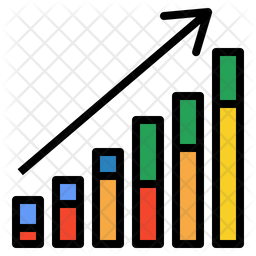 Growth Graph Colored Outline Icon