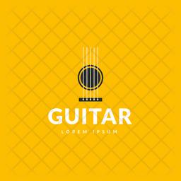 Guitar Logo Colored Outline Icon