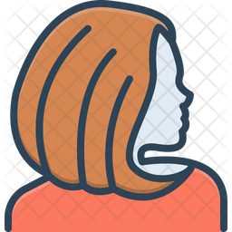 Hair Colored Outline Icon