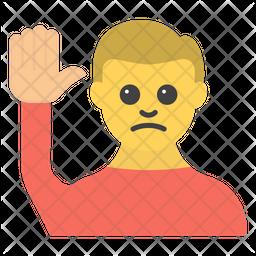 Hand Raise Male Emoji Icon