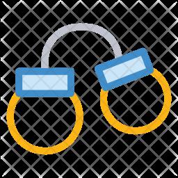 Handcuffs Colored Outline Icon