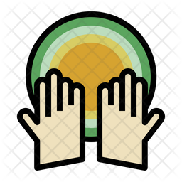Hands Colored Outline Icon