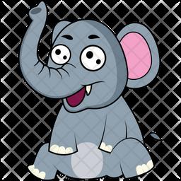 Happy Baby Elephant Icon