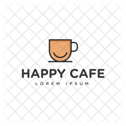 Happy Cafe Colored Outline  Logo Icon