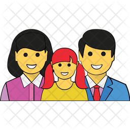 Happy Family Colored Outline Icon