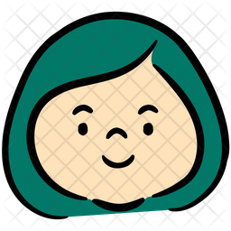 Happy Girl Colored Outline Icon