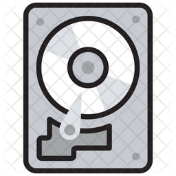 Hard Disc Colored Outline Icon