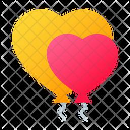 Heart Shape Balloon Gradient Icon