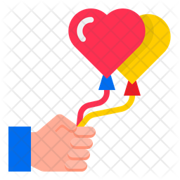 Heart Shape Balloon Flat Icon