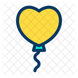 Heart Shape Balloon Colored Outline Icon