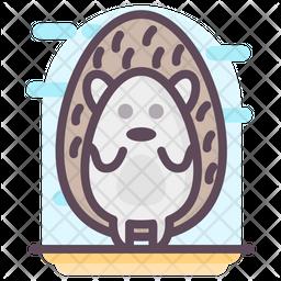Hedgehog Cartoon Colored Outline Icon