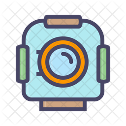 Helmet Colored Outline Icon