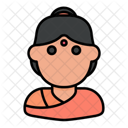 Hindu Woman Colored Outline Icon