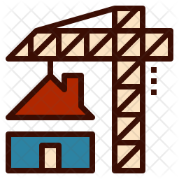 Home Construction Colored Outline Icon