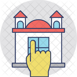 Home Hand Pointing Colored Outline Icon