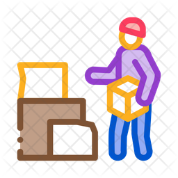 Homeless Cardboard Boxes Colored Outline Icon
