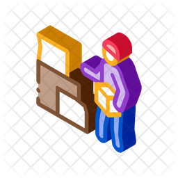 Homeless Cardboard Boxes Isometric Icon