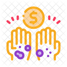 Homeless Hands Ask Money Colored Outline Icon