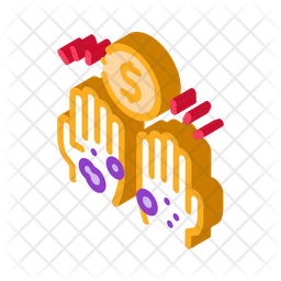 Homeless Hands Ask Money Isometric Icon