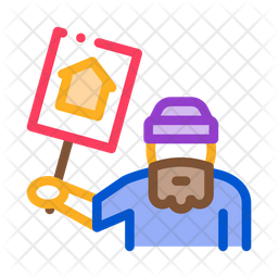 Homeless Nameplate Colored Outline Icon