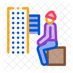 Homeless Sitting Box Colored Outline Icon