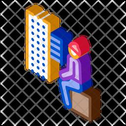 Homeless Sitting Box Isometric Icon