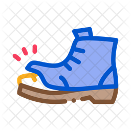 Homeless Torn Boot Colored Outline Icon