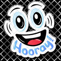 Hooray Sticker Flat Icon