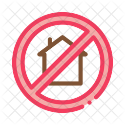 House Crossed Out Colored Outline Icon