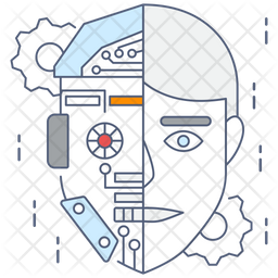 Humanoid Robot Colored Outline Icon