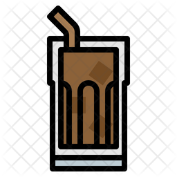 Ice coffee Colored Outline Icon
